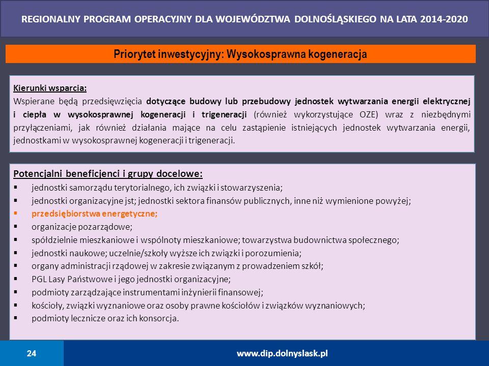 24 www.dip.dolnyslask.pl REGIONALNY PROGRAM OPERACYJNY DLA WOJEWÓDZTWA DOLNOŚLĄSKIEGO NA LATA 2014-2020 Priorytet inwestycyjny: Wysokosprawna kogenera