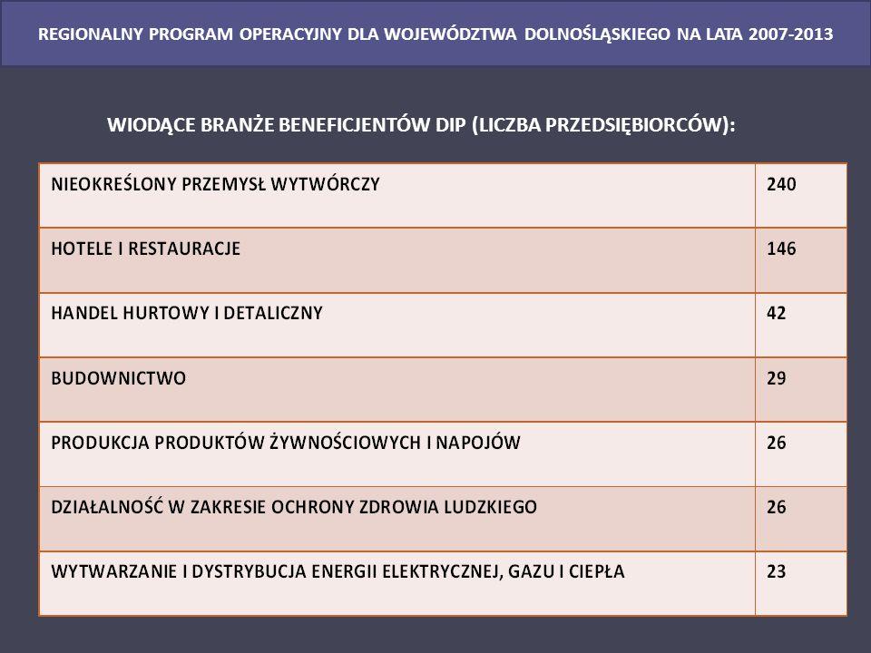 REGIONALNY PROGRAM OPERACYJNY DLA WOJEWÓDZTWA DOLNOŚLĄSKIEGO NA LATA 2007-2013 WIODĄCE BRANŻE BENEFICJENTÓW DIP (LICZBA PRZEDSIĘBIORCÓW):