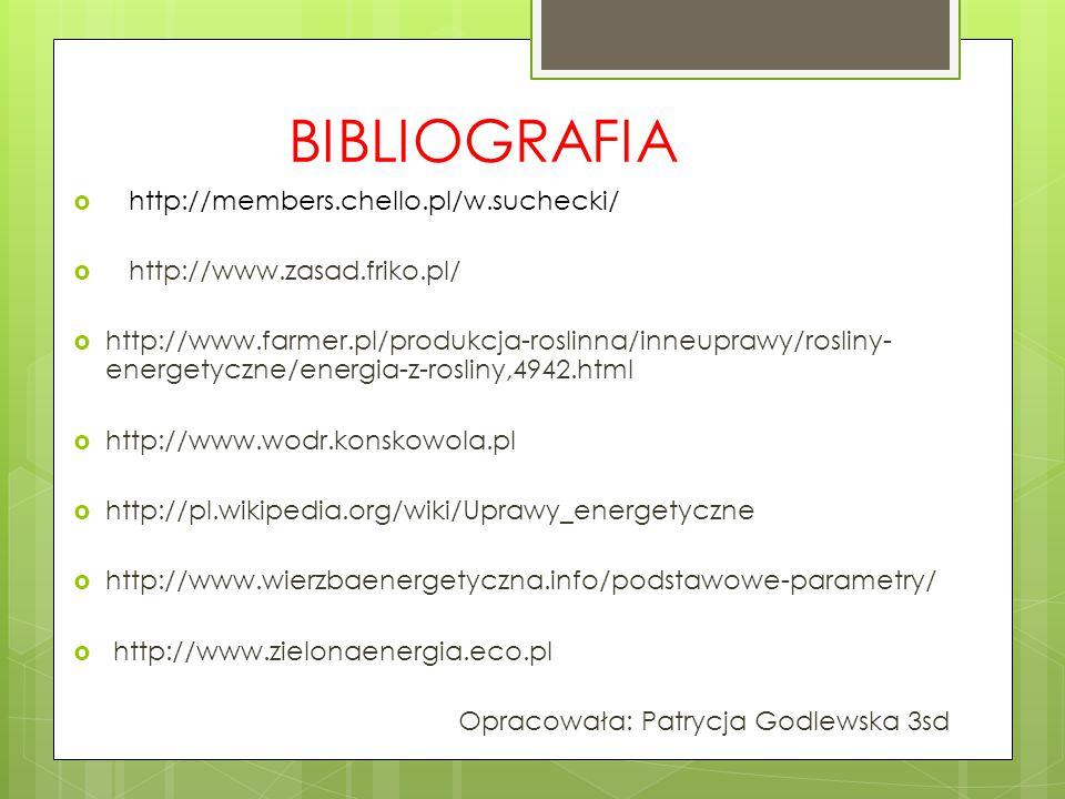 BIBLIOGRAFIA  http://members.chello.pl/w.suchecki/  http://www.zasad.friko.pl/  http://www.farmer.pl/produkcja-roslinna/inneuprawy/rosliny- energetyczne/energia-z-rosliny,4942.html  http://www.wodr.konskowola.pl  http://pl.wikipedia.org/wiki/Uprawy_energetyczne  http://www.wierzbaenergetyczna.info/podstawowe-parametry/  http://www.zielonaenergia.eco.pl Opracowała: Patrycja Godlewska 3sd