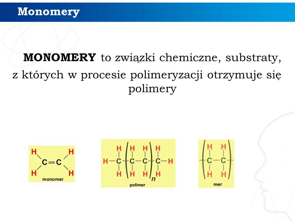 Monomery MONOMERY to związki chemiczne, substraty, z których w procesie polimeryzacji otrzymuje się polimery