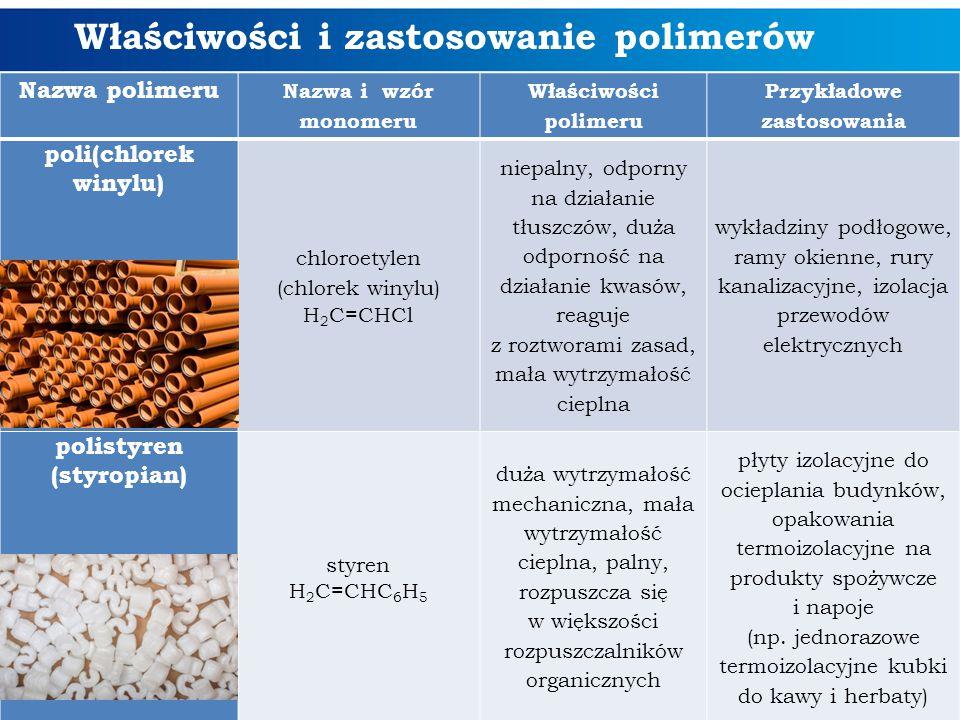 Właściwości i zastosowanie polimerów Nazwa polimeru Nazwa i wzór monomeru Właściwości polimeru Przykładowe zastosowania poli(chlorek winylu) chloroety