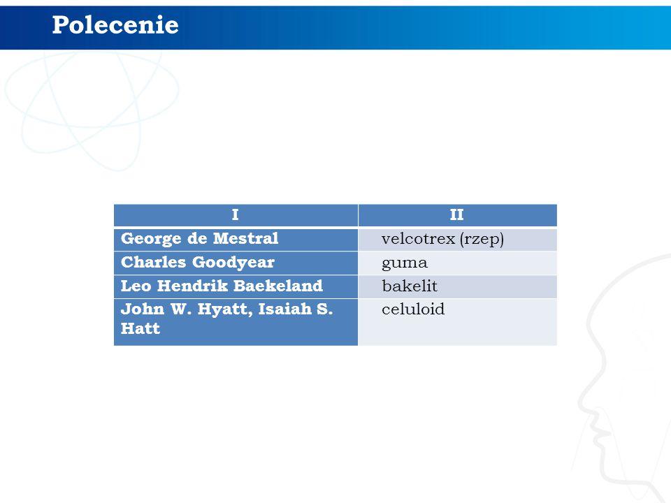 Polecenie III George de Mestral velcotrex (rzep) Charles Goodyear guma Leo Hendrik Baekeland bakelit John W. Hyatt, Isaiah S. Hatt celuloid