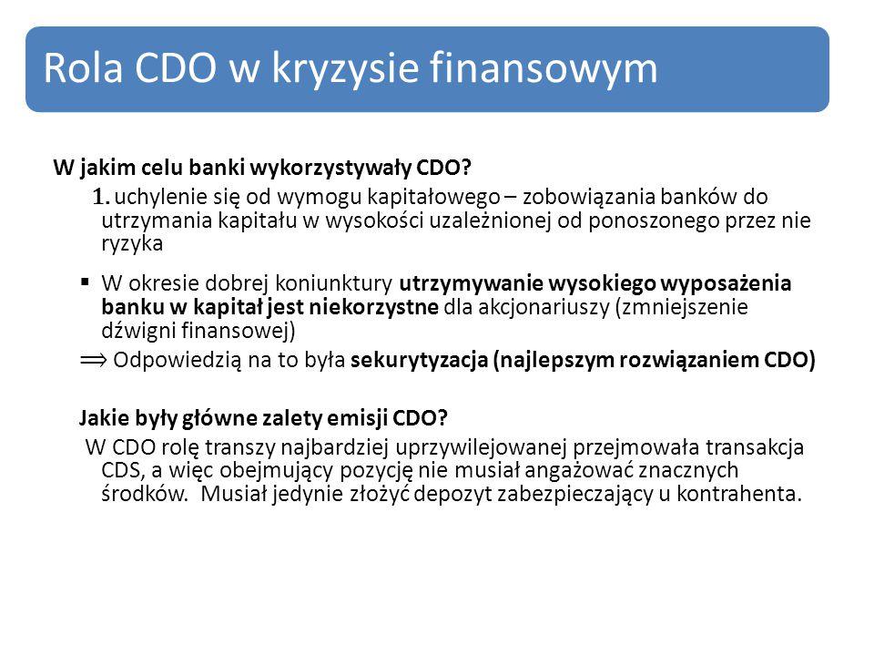 W jakim celu banki wykorzystywały CDO.1.