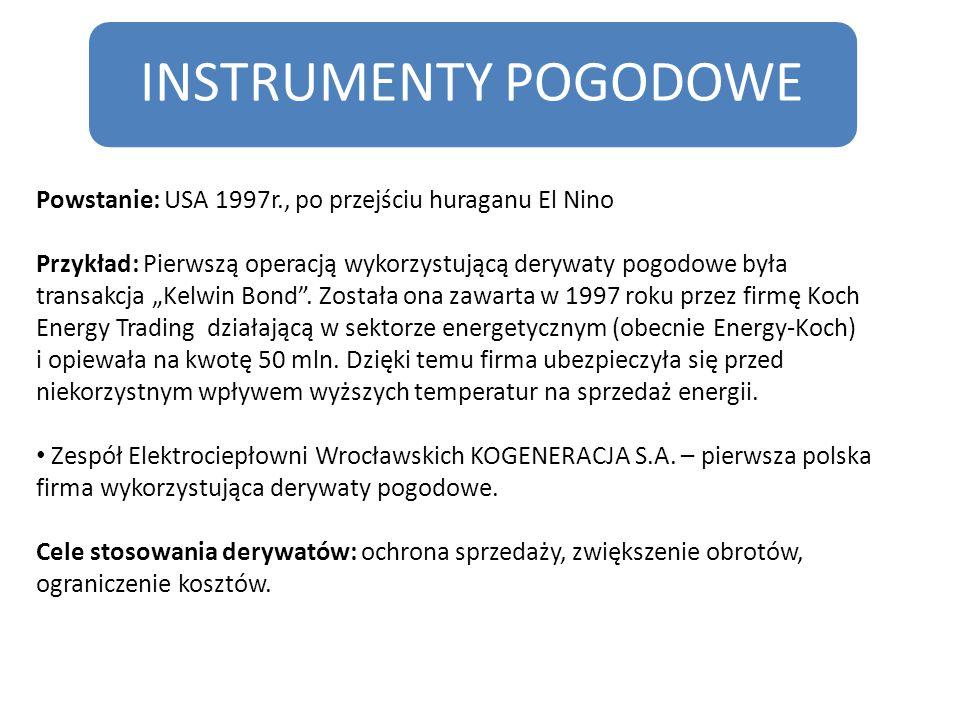 """INSTRUMENTY POGODOWE Powstanie: USA 1997r., po przejściu huraganu El Nino Przykład: Pierwszą operacją wykorzystującą derywaty pogodowe była transakcja """"Kelwin Bond ."""