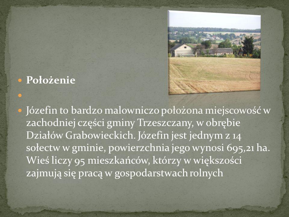 Położenie Józefin to bardzo malowniczo położona miejscowość w zachodniej części gminy Trzeszczany, w obrębie Działów Grabowieckich.