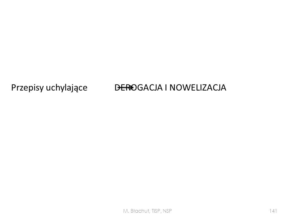 Przepisy uchylające DEROGACJA I NOWELIZACJA M. Błachut, TiSP, NSP141