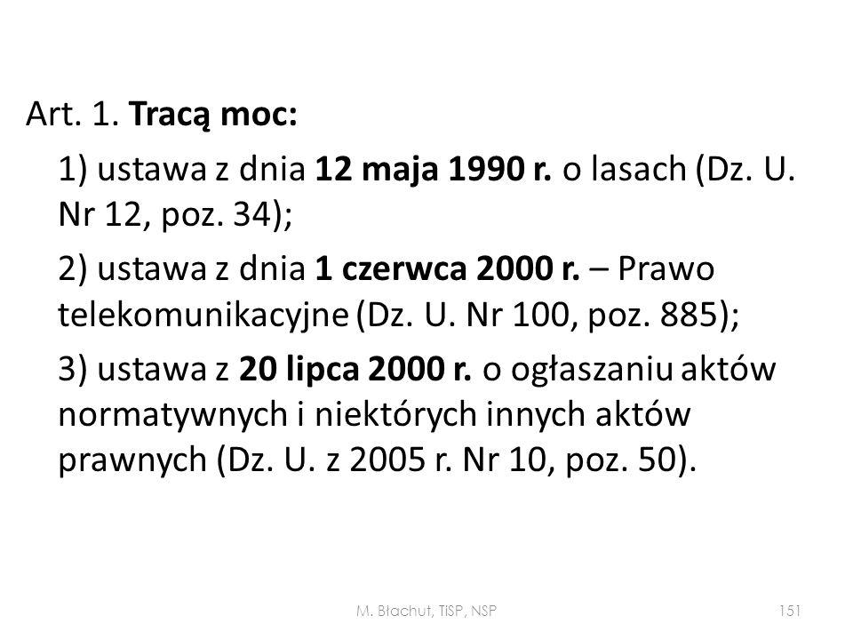 Art. 1. Tracą moc: 1) ustawa z dnia 12 maja 1990 r. o lasach (Dz. U. Nr 12, poz. 34); 2) ustawa z dnia 1 czerwca 2000 r. – Prawo telekomunikacyjne (Dz