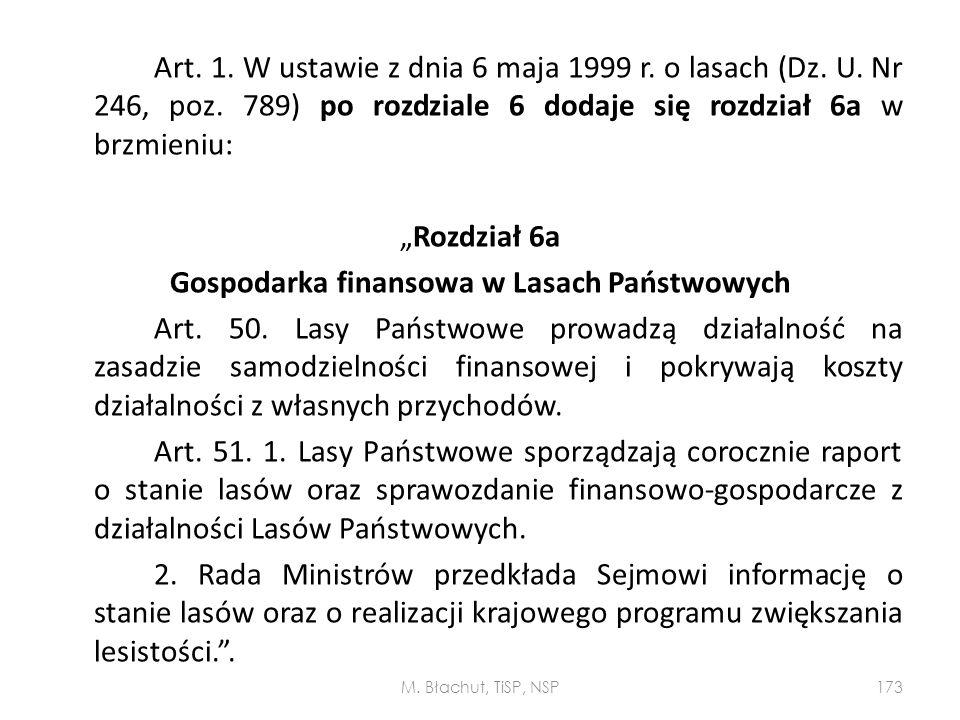 """Art. 1. W ustawie z dnia 6 maja 1999 r. o lasach (Dz. U. Nr 246, poz. 789) po rozdziale 6 dodaje się rozdział 6a w brzmieniu: """"Rozdział 6a Gospodarka"""
