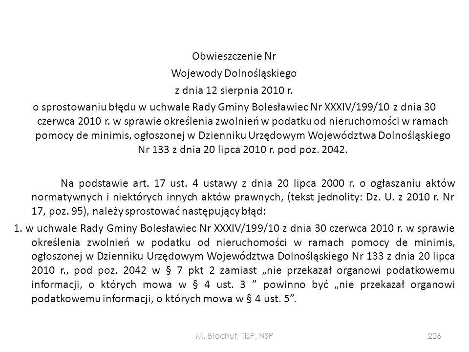 Obwieszczenie Nr Wojewody Dolnośląskiego z dnia 12 sierpnia 2010 r. o sprostowaniu błędu w uchwale Rady Gminy Bolesławiec Nr XXXIV/199/10 z dnia 30 cz