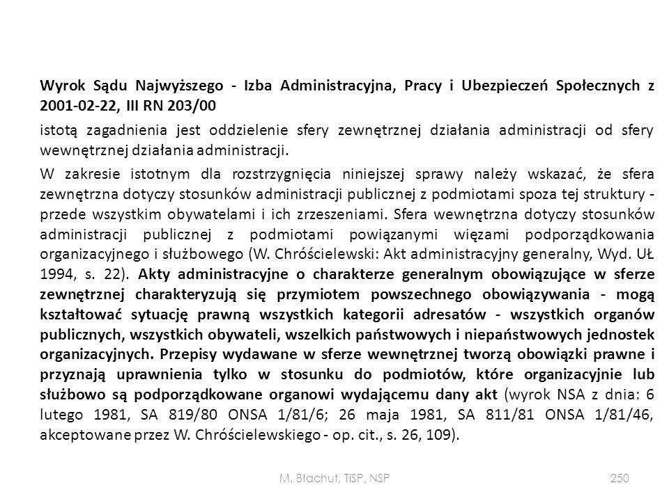 Wyrok Sądu Najwyższego - Izba Administracyjna, Pracy i Ubezpieczeń Społecznych z 2001-02-22, III RN 203/00 istotą zagadnienia jest oddzielenie sfery z