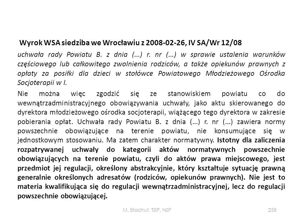 Wyrok WSA siedziba we Wrocławiu z 2008-02-26, IV SA/Wr 12/08 uchwała rady Powiatu B. z dnia (...) r. nr (...) w sprawie ustalenia warunków częściowego