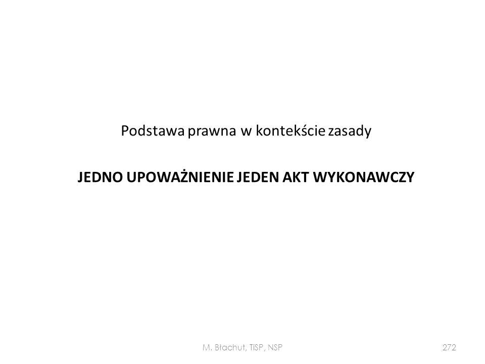 Podstawa prawna w kontekście zasady JEDNO UPOWAŻNIENIE JEDEN AKT WYKONAWCZY M. Błachut, TiSP, NSP272