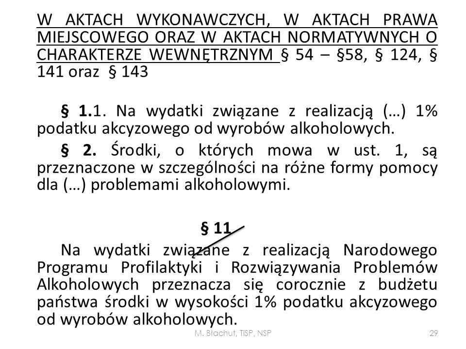 W AKTACH WYKONAWCZYCH, W AKTACH PRAWA MIEJSCOWEGO ORAZ W AKTACH NORMATYWNYCH O CHARAKTERZE WEWNĘTRZNYM § 54 – §58, § 124, § 141 oraz § 143 § 1.1. Na w