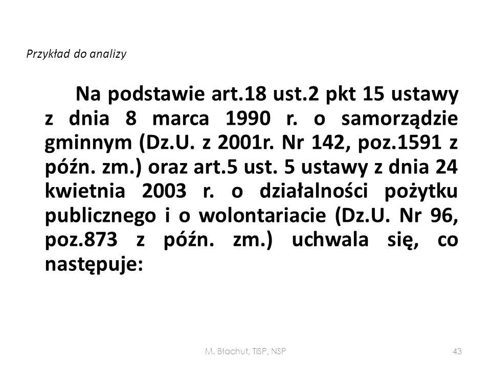 Przykład do analizy Na podstawie art.18 ust.2 pkt 15 ustawy z dnia 8 marca 1990 r. o samorządzie gminnym (Dz.U. z 2001r. Nr 142, poz.1591 z późn. zm.)