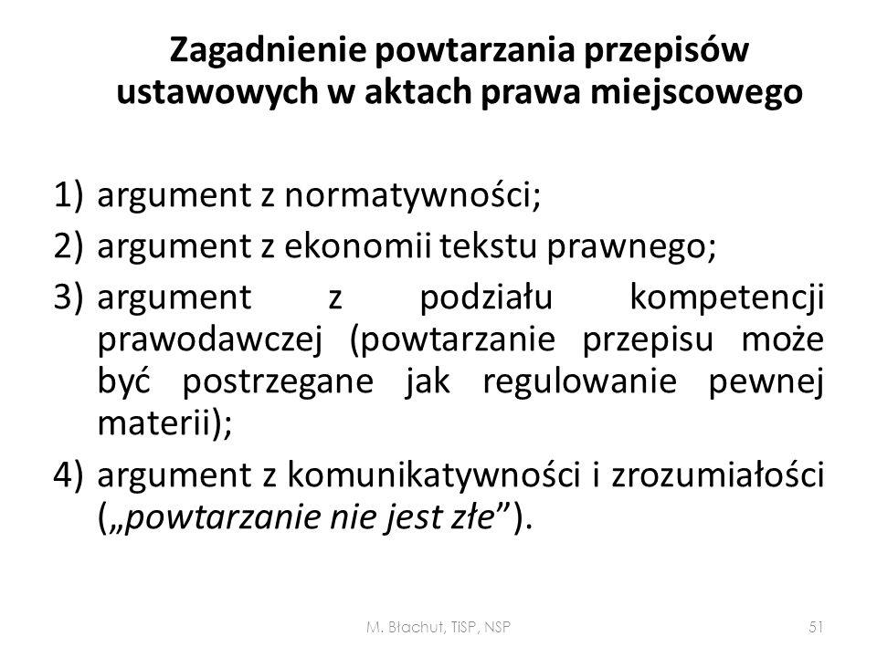 Zagadnienie powtarzania przepisów ustawowych w aktach prawa miejscowego 1)argument z normatywności; 2)argument z ekonomii tekstu prawnego; 3)argument