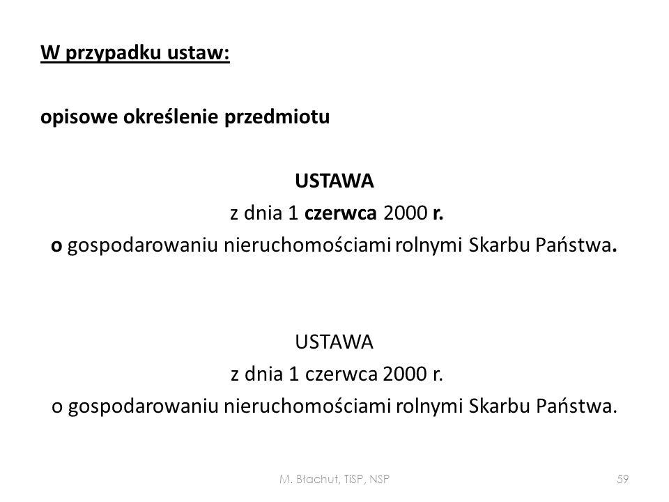 W przypadku ustaw: opisowe określenie przedmiotu USTAWA z dnia 1 czerwca 2000 r. o gospodarowaniu nieruchomościami rolnymi Skarbu Państwa. USTAWA z dn
