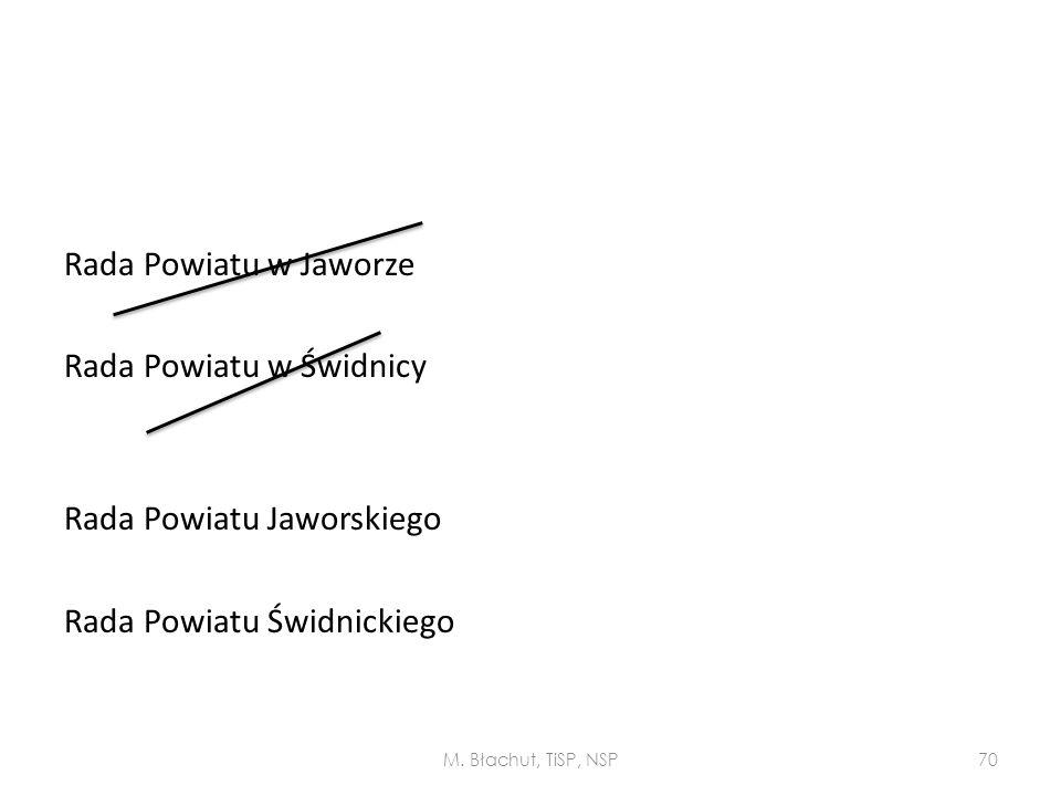 Rada Powiatu w Jaworze Rada Powiatu w Świdnicy Rada Powiatu Jaworskiego Rada Powiatu Świdnickiego M. Błachut, TiSP, NSP70