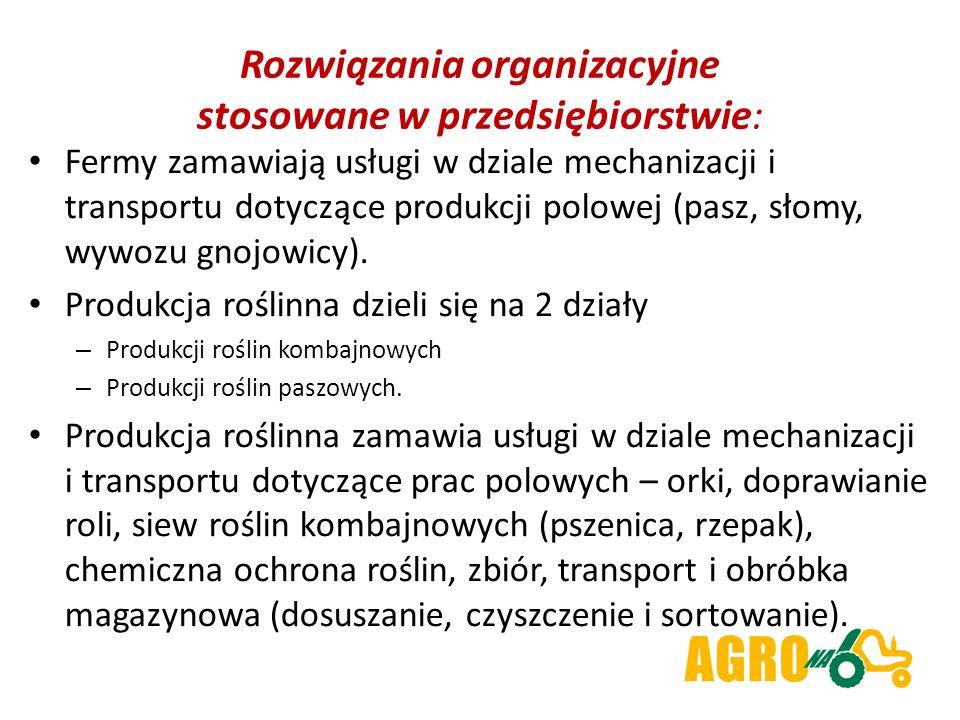 Rozwiązania organizacyjne stosowane w przedsiębiorstwie: Fermy zamawiają usługi w dziale mechanizacji i transportu dotyczące produkcji polowej (pasz, słomy, wywozu gnojowicy).
