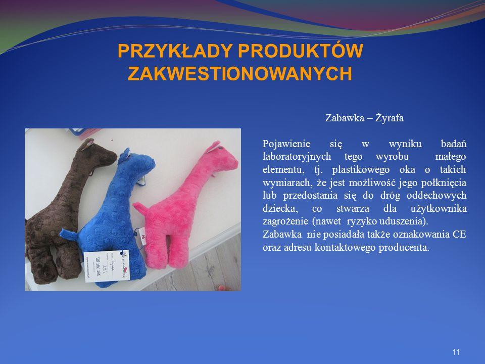 11 PRZYKŁADY PRODUKTÓW ZAKWESTIONOWANYCH Zabawka – Żyrafa Pojawienie się w wyniku badań laboratoryjnych tego wyrobu małego elementu, tj. plastikowego