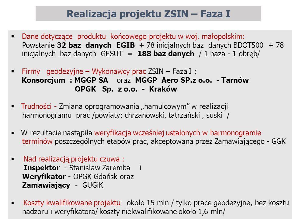 Realizacja projektu ZSIN – Faza I 11  Dane dotyczące produktu końcowego projektu w woj. małopolskim: Powstanie 32 baz danych EGIB + 78 inicjalnych ba
