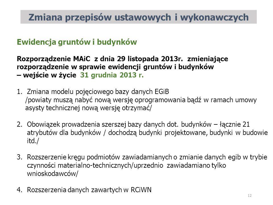 Zmiana przepisów ustawowych i wykonawczych 12 Ewidencja gruntów i budynków Rozporządzenie MAiC z dnia 29 listopada 2013r. zmieniające rozporządzenie w