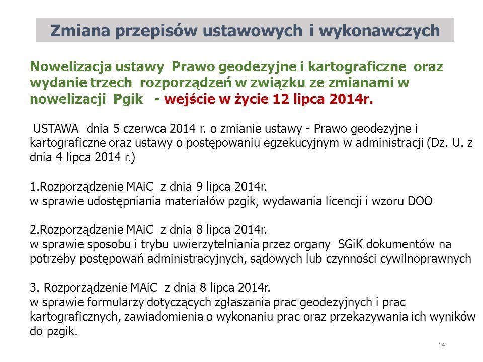 Zmiana przepisów ustawowych i wykonawczych 14 Nowelizacja ustawy Prawo geodezyjne i kartograficzne oraz wydanie trzech rozporządzeń w związku ze zmianami w nowelizacji Pgik - wejście w życie 12 lipca 2014r.