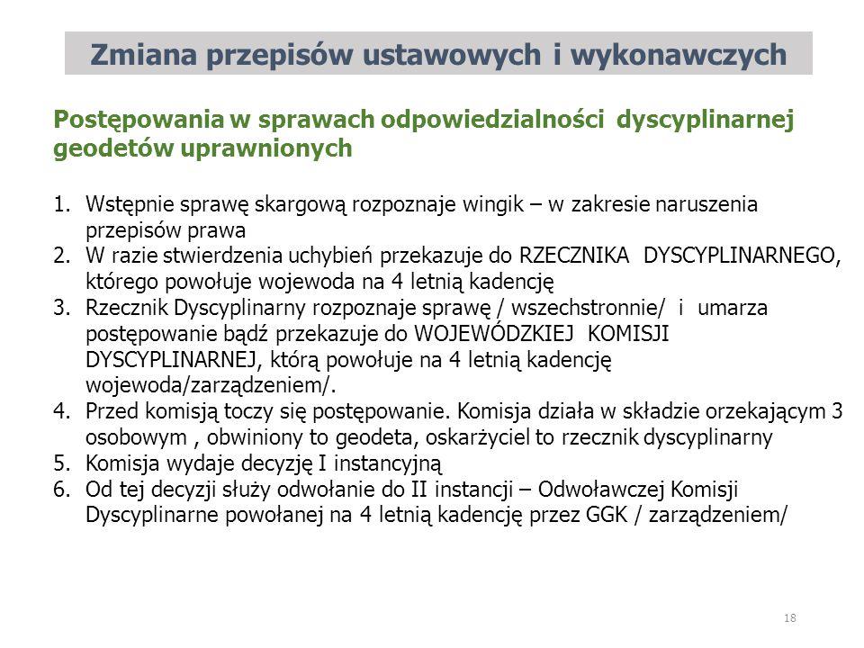 Zmiana przepisów ustawowych i wykonawczych 18 Postępowania w sprawach odpowiedzialności dyscyplinarnej geodetów uprawnionych 1.Wstępnie sprawę skargow