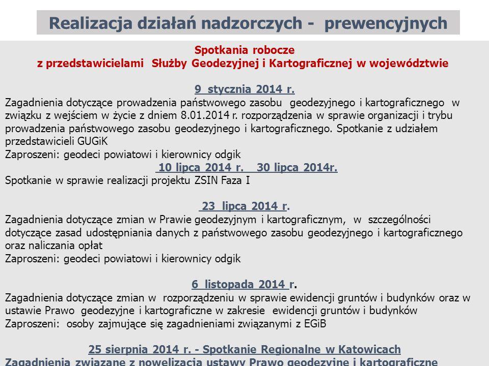 Realizacja działań nadzorczych - prewencyjnych 20 Spotkania robocze z przedstawicielami Służby Geodezyjnej i Kartograficznej w województwie 9 stycznia 2014 r.