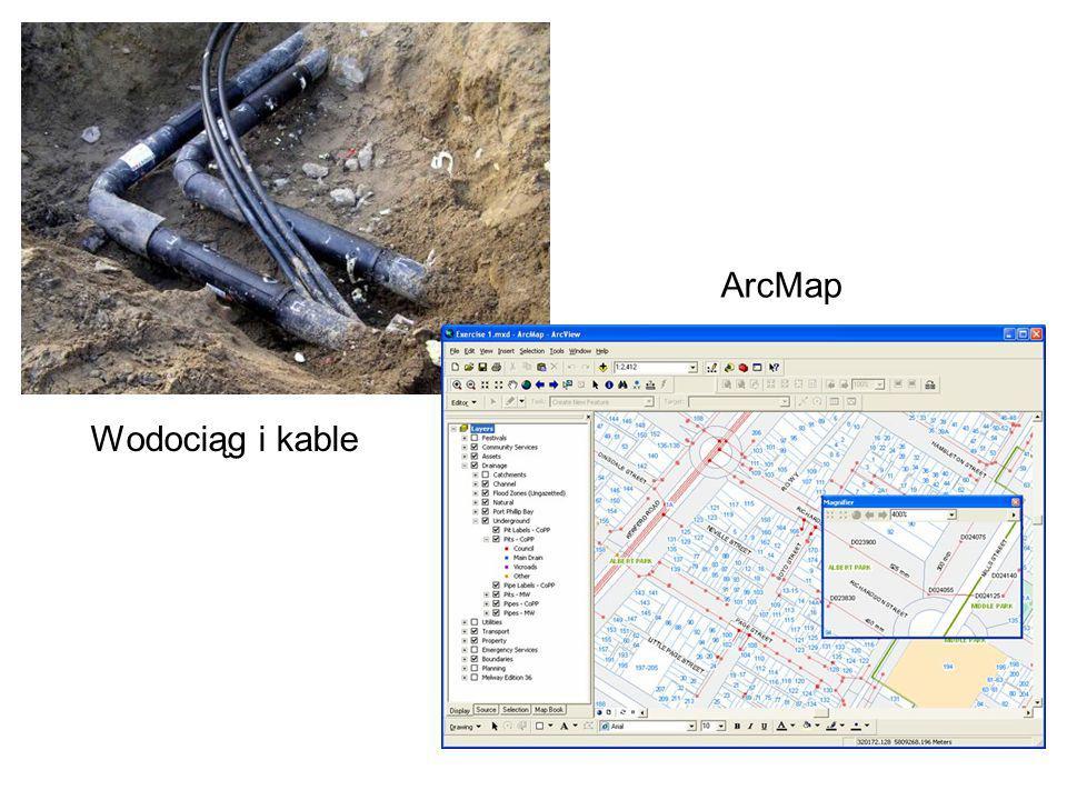 Wodociąg i kable ArcMap