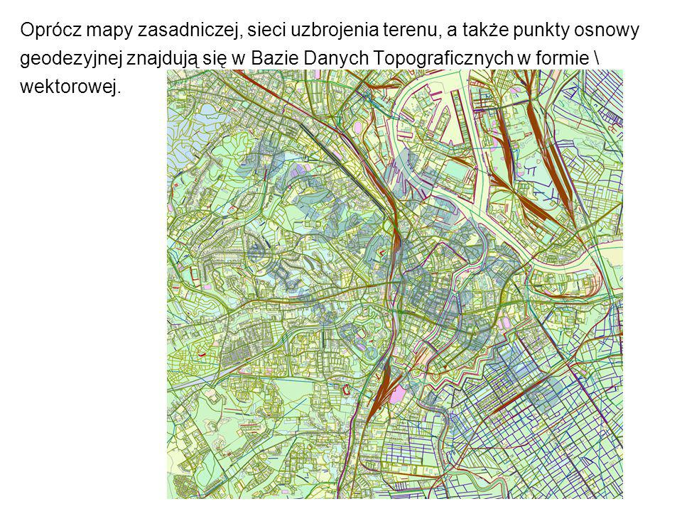 Oprócz mapy zasadniczej, sieci uzbrojenia terenu, a także punkty osnowy geodezyjnej znajdują się w Bazie Danych Topograficznych w formie \ wektorowej.