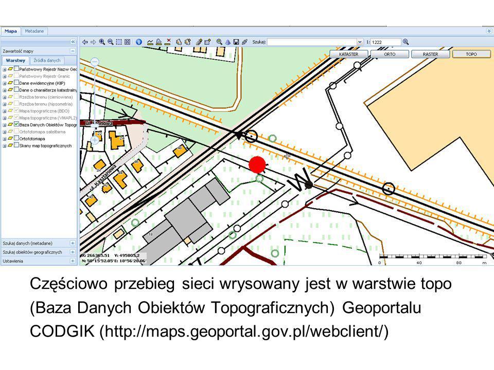 Częściowo przebieg sieci wrysowany jest w warstwie topo (Baza Danych Obiektów Topograficznych) Geoportalu CODGIK (http://maps.geoportal.gov.pl/webclie