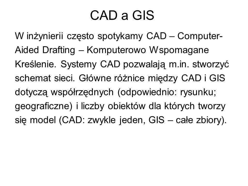 CAD a GIS W inżynierii często spotykamy CAD – Computer- Aided Drafting – Komputerowo Wspomagane Kreślenie. Systemy CAD pozwalają m.in. stworzyć schema