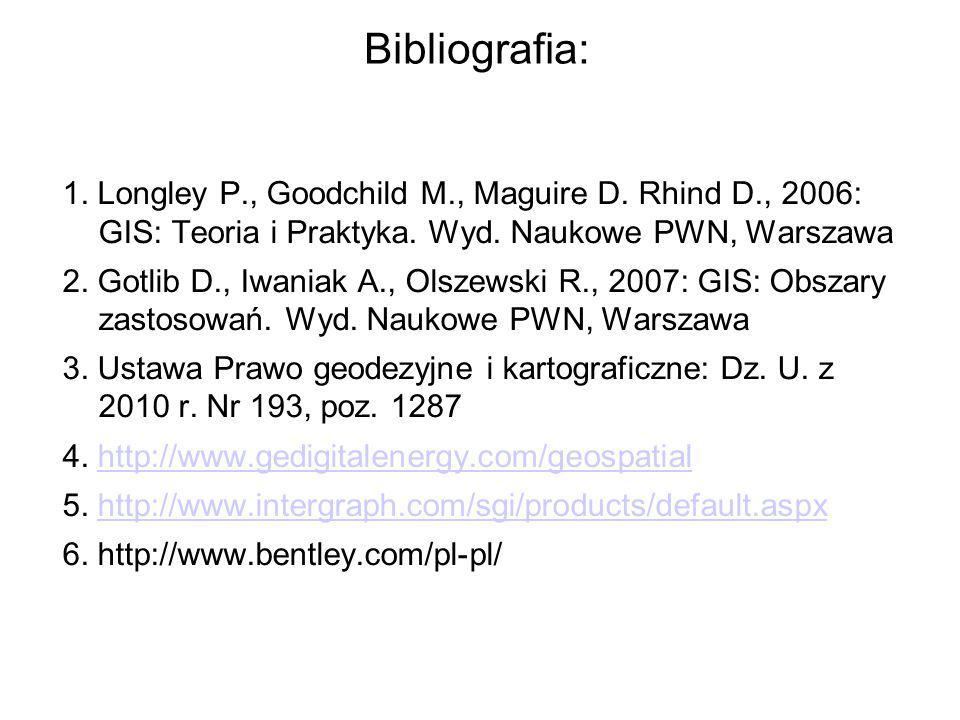 Bibliografia: 1. Longley P., Goodchild M., Maguire D. Rhind D., 2006: GIS: Teoria i Praktyka. Wyd. Naukowe PWN, Warszawa 2. Gotlib D., Iwaniak A., Ols