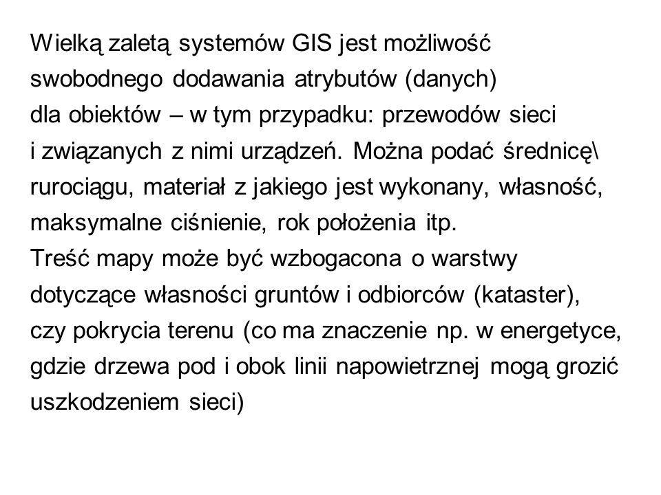 Wielką zaletą systemów GIS jest możliwość swobodnego dodawania atrybutów (danych) dla obiektów – w tym przypadku: przewodów sieci i związanych z nimi