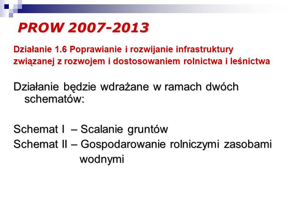 PROW 2007-2013 Działanie 1.6 Poprawianie i rozwijanie infrastruktury związanej z rozwojem i dostosowaniem rolnictwa i leśnictwa Działanie będzie wdrażane w ramach dwóch schematów: Schemat I – Scalanie gruntów Schemat II – Gospodarowanie rolniczymi zasobami wodnymi wodnymi