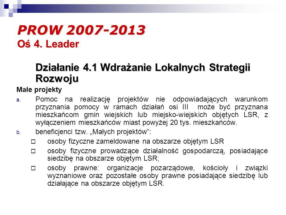 PROW 2007-2013 Oś 4. Leader Działanie 4.1 Wdrażanie Lokalnych Strategii Rozwoju Małe projekty a.