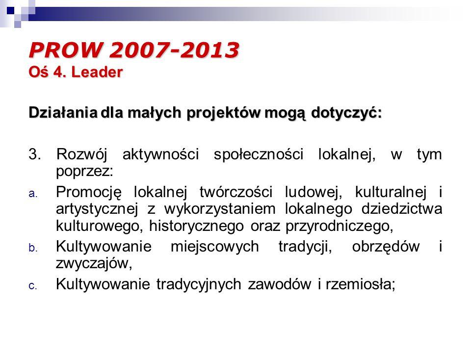 PROW 2007-2013 Oś 4. Leader Działania dla małych projektów mogą dotyczyć: 3.