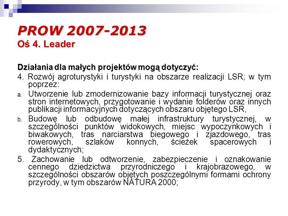 PROW 2007-2013 Oś 4. Leader Działania dla małych projektów mogą dotyczyć: 4.