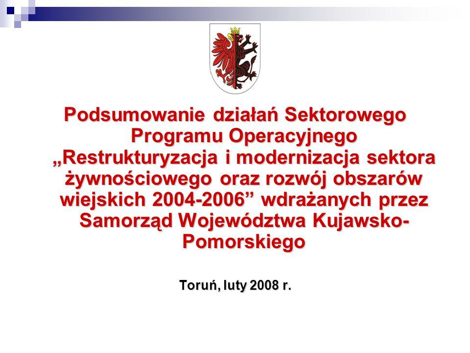 """Podsumowanie działań Sektorowego Programu Operacyjnego """"Restrukturyzacja i modernizacja sektora żywnościowego oraz rozwój obszarów wiejskich 2004-2006 wdrażanych przez Samorząd Województwa Kujawsko- Pomorskiego Toruń, luty 2008 r."""