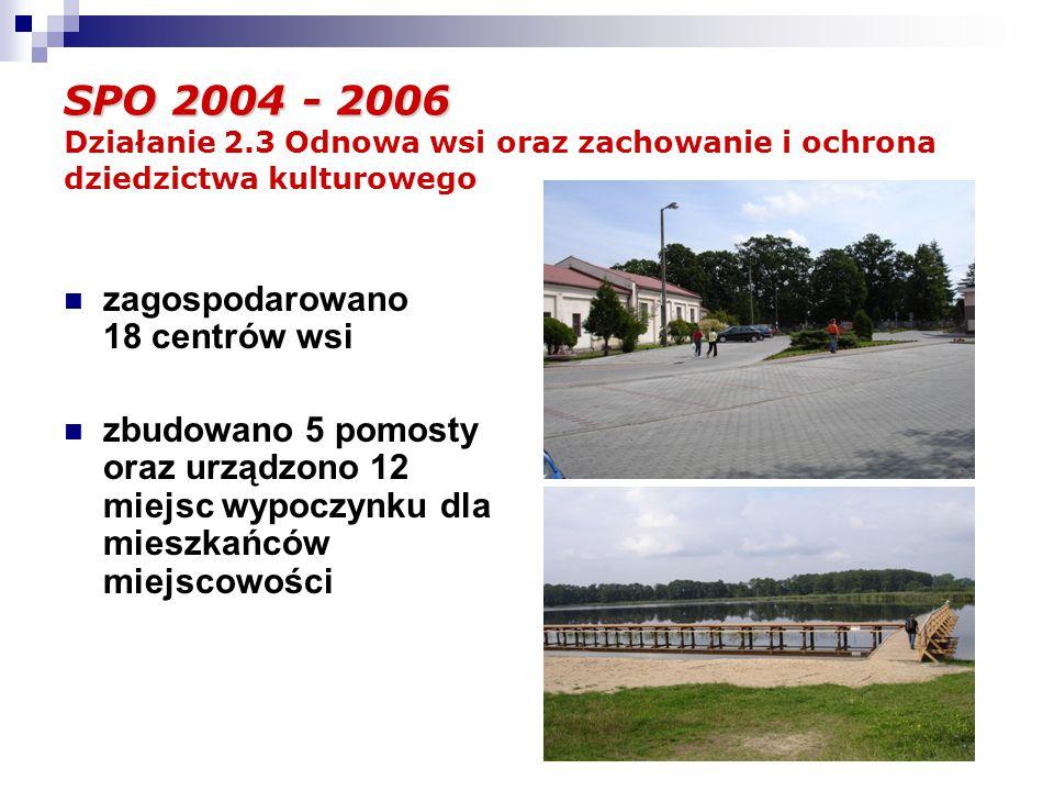 SPO 2004 - 2006 SPO 2004 - 2006 Działanie 2.3 Odnowa wsi oraz zachowanie i ochrona dziedzictwa kulturowego zagospodarowano 18 centrów wsi zbudowano 5 pomosty oraz urządzono 12 miejsc wypoczynku dla mieszkańców miejscowości