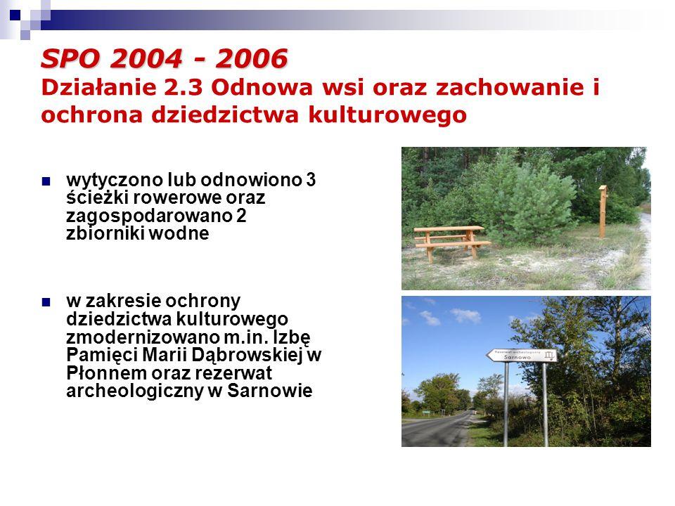 SPO 2004 - 2006 SPO 2004 - 2006 Działanie 2.3 Odnowa wsi oraz zachowanie i ochrona dziedzictwa kulturowego wytyczono lub odnowiono 3 ścieżki rowerowe oraz zagospodarowano 2 zbiorniki wodne w zakresie ochrony dziedzictwa kulturowego zmodernizowano m.in.