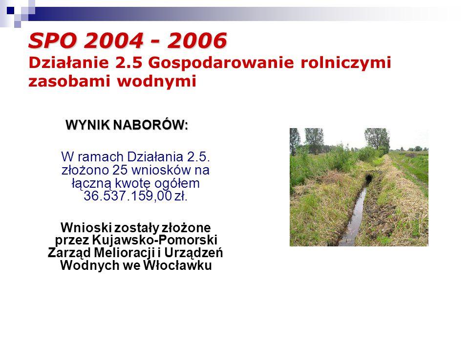 SPO 2004 - 2006 SPO 2004 - 2006 Działanie 2.5 Gospodarowanie rolniczymi zasobami wodnymi WYNIK NABORÓW: W ramach Działania 2.5.