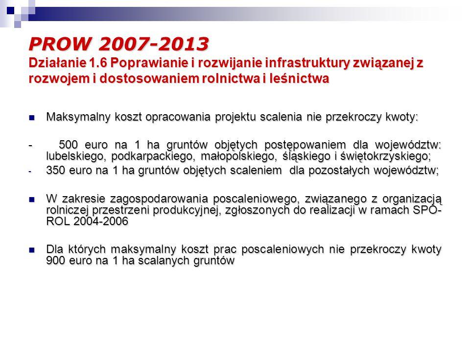 PROW 2007-2013 Działanie 1.6 Poprawianie i rozwijanie infrastruktury związanej z rozwojem i dostosowaniem rolnictwa i leśnictwa Schemat II Gospodarowanie rolniczymi zasobami wodnymi Cel: - Poprawa jakości gleb poprzez regulację stosunków wodnych; - Zwiększenie retencji wodnej; - Poprawa ochrony użytków rolnych przed powodziami