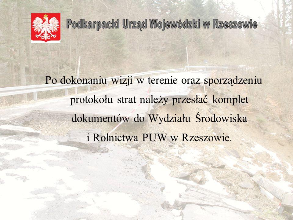 LpNr drogi Nazwa odcinka drogi Miejsco- wość Uszkodzony odcinek drogi Uszkodzony przepust Szczegółowy opis uszkodzeń UwagiSzacunko- wa wartość strat (zł) od kmdo kmw kmśrednica w cm 11234 Rzeszów -Łańcut Rzeszów 0+0000+5000+250Ø 80 Zniszczona droga o nawierzchni żwirowej, zamulone rowy.