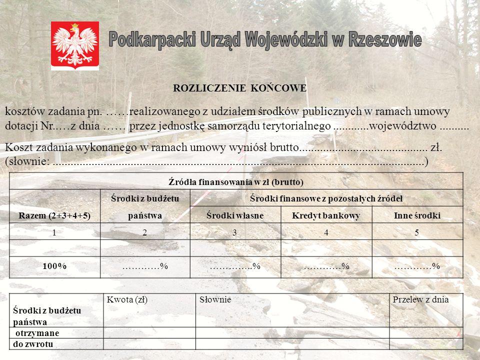 Samorząd zobowiązuje się do przedłożenia do Wydziału Środowiska i Rolnictwa Podkarpackiego Urzędu Wojewódzkiego w Rzeszowie rozliczenia końcowego kosztów zadania w terminie do 21 dni od terminu wykorzystania lub otrzymania dotacji.