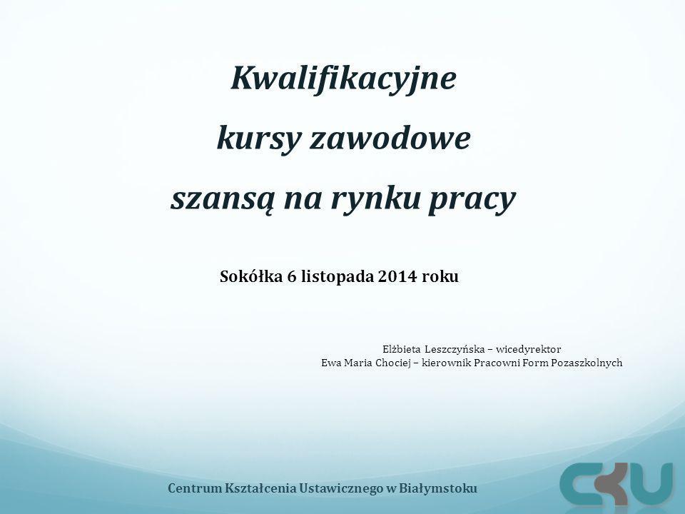 Kwalifikacyjne kursy zawodowe szansą na rynku pracy Sokółka 6 listopada 2014 roku Centrum Kształcenia Ustawicznego w Białymstoku Elżbieta Leszczyńska