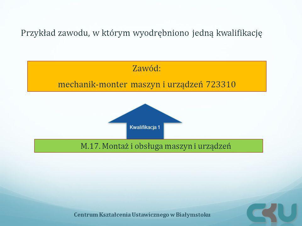 Kwalifikacja 1 Zawód: mechanik-monter maszyn i urządzeń 723310 M.17.