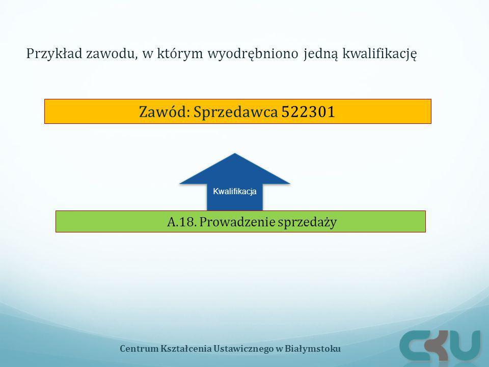 Kwalifikacja Zawód: Sprzedawca 522301 A.18. Prowadzenie sprzedaży Przykład zawodu, w którym wyodrębniono jedną kwalifikację Centrum Kształcenia Ustawi