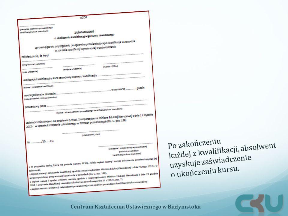 Po zakończeniu każdej z kwalifikacji, absolwent uzyskuje zaświadczenie o ukończeniu kursu. Centrum Kształcenia Ustawicznego w Białymstoku