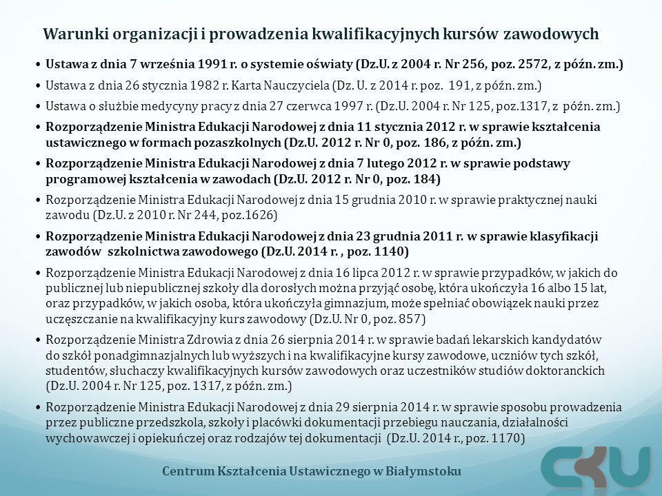 Warunki organizacji i prowadzenia kwalifikacyjnych kursów zawodowych Centrum Kształcenia Ustawicznego w Białymstoku Ustawa z dnia 7 września 1991 r. o